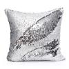 หมอนอิง Luxury reverse colors Mermaid sequin throw pillows ขนาด 18 x18 นิ้ว( Platinum) - สีเงิน