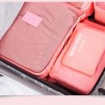 กระเป๋าจัดระเบียบกระเป๋าเดินทางชุดใหญ่ 6 ใบ (สีโอรส)