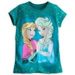 เสื้อยืด แอนนา&เอลซ่า Anna and Elsa Tee for Girls - Teal Blue