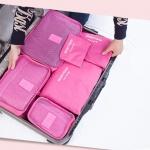 กระเป๋าจัดระเบียบกระเป๋าเดินทางชุดใหญ่ 6 ใบ (สีชมพู)