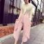 กางเกงขายาวแฟชั่นเกาหลี ชีฟอง สีชมพู thumbnail 2