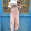 กางเกงขายาวแฟชั่นเกาหลี ชีฟอง สีชมพู thumbnail 5