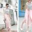 กางเกงขายาวแฟชั่นเกาหลี ชีฟอง สีชมพู thumbnail 3